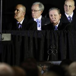 Elder Jeffrey R. Holland of the Quorum of the Twelve Apostles sits next to BYU senior associate athletics director Brian Santiago during a public memorial service for former Cougar football coach LaVell Edwards at the Provo Convention Center on Friday, Jan. 6, 2017.