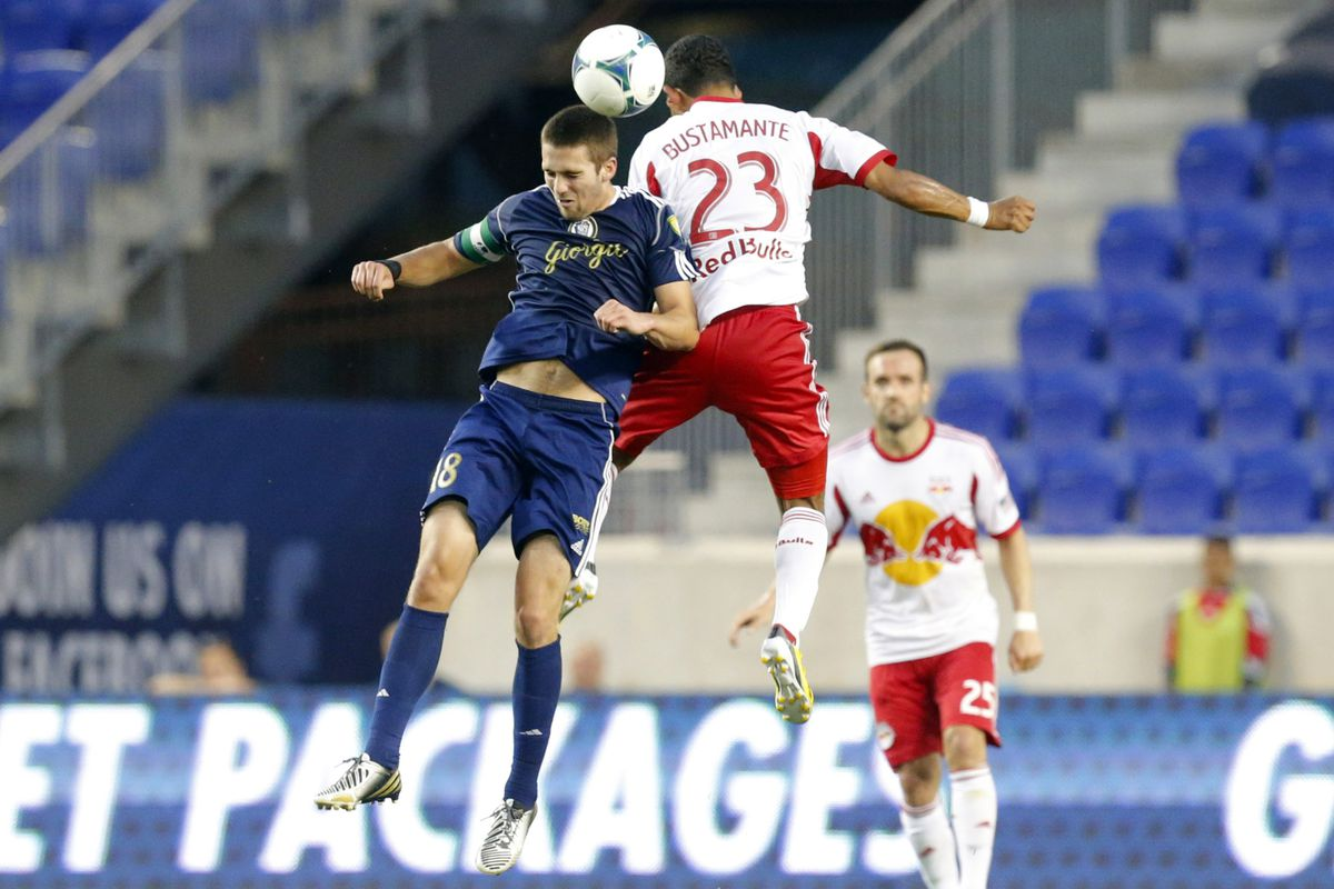 Steve Neumann battling for the ball in a 3rd round Open Cup match with the Red Bulls