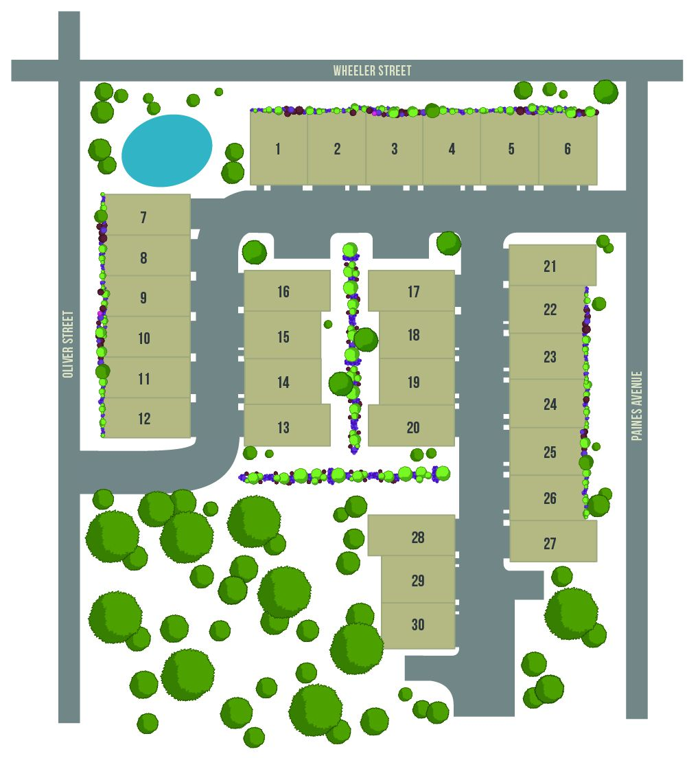 A site plan for a group of townhomes with trees and a pond around them.