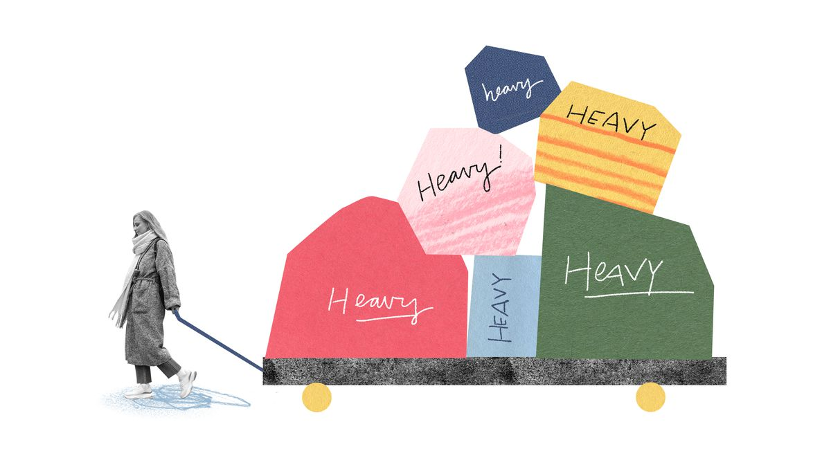 A women pulls a wagon with large, colorful boulders. Illustration.