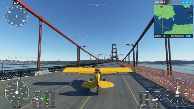 A yellow bush plane parked in the middle of the Golden Gate Bridge.