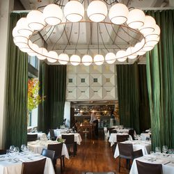 Bruce Carey's well-appointed Pearl District dining room, designed by architect Brad Cloepfil, is the closest Portland gets to a New York City-dramatic aesthetic: stark white leather chairs and geometric chandeliers play off the lush green of floor-to-ceili