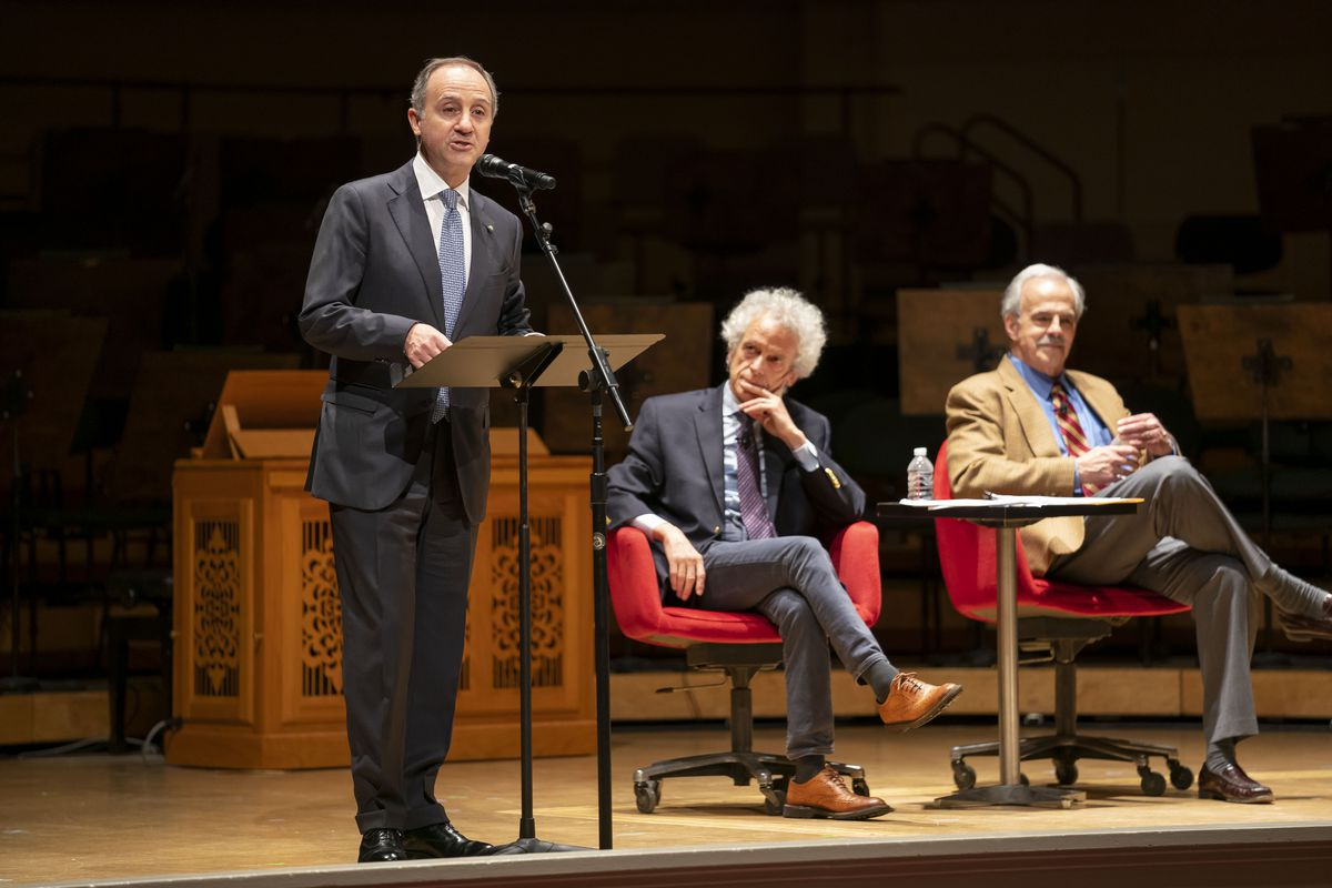 Italian ambassador H.E. Armando Varricchio (from left), Federico Rampini, U.S. bureau chief for La Repubblica, and Anthony Cardoza, professor of history at Loyola University on stage at Orchestra Hall. Varricchio offered opening remarks at a preconcert le