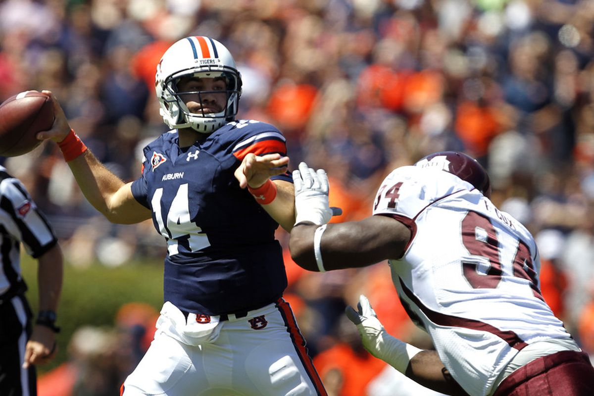 A Chris Wilson DL puts pressure on an Auburn QB.  Yeah, we can get used to that.