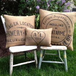 Handmade French grain sack pillows, $125 from Nancy Anne Designs