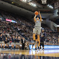UConn's Kia Nurse (11) goes in for the layup during the Notre Dame Fighting Irish vs UConn Huskies women's college basketball game in the Women's Jimmy V Classic at the XL Center in Hartford, CT on December 3, 2017.