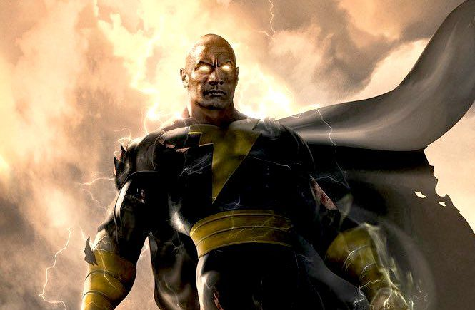 black adam concept art of the rock floating in the sky with electric eyes