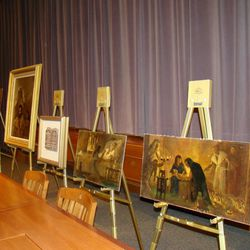 Original paintings by Arnold Friberg, part of the Cecil B. DeMille collection at BYU, are displayed.