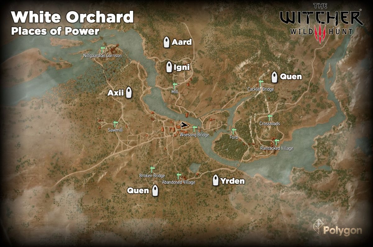 The Witcher 3 White Orchard Places of Power locations map