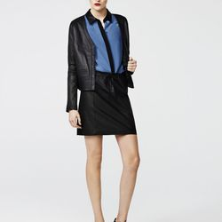 Leather cardigan, black, $538; boy shirt with leather collar, pacific, $228; leather skirt, black, $498