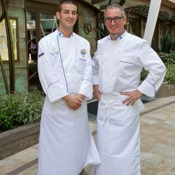 Chefs Michael Schwartz and James Seyba outside Oasis of the Seas' 150 Central Park. (Photo: Tim Aylen)