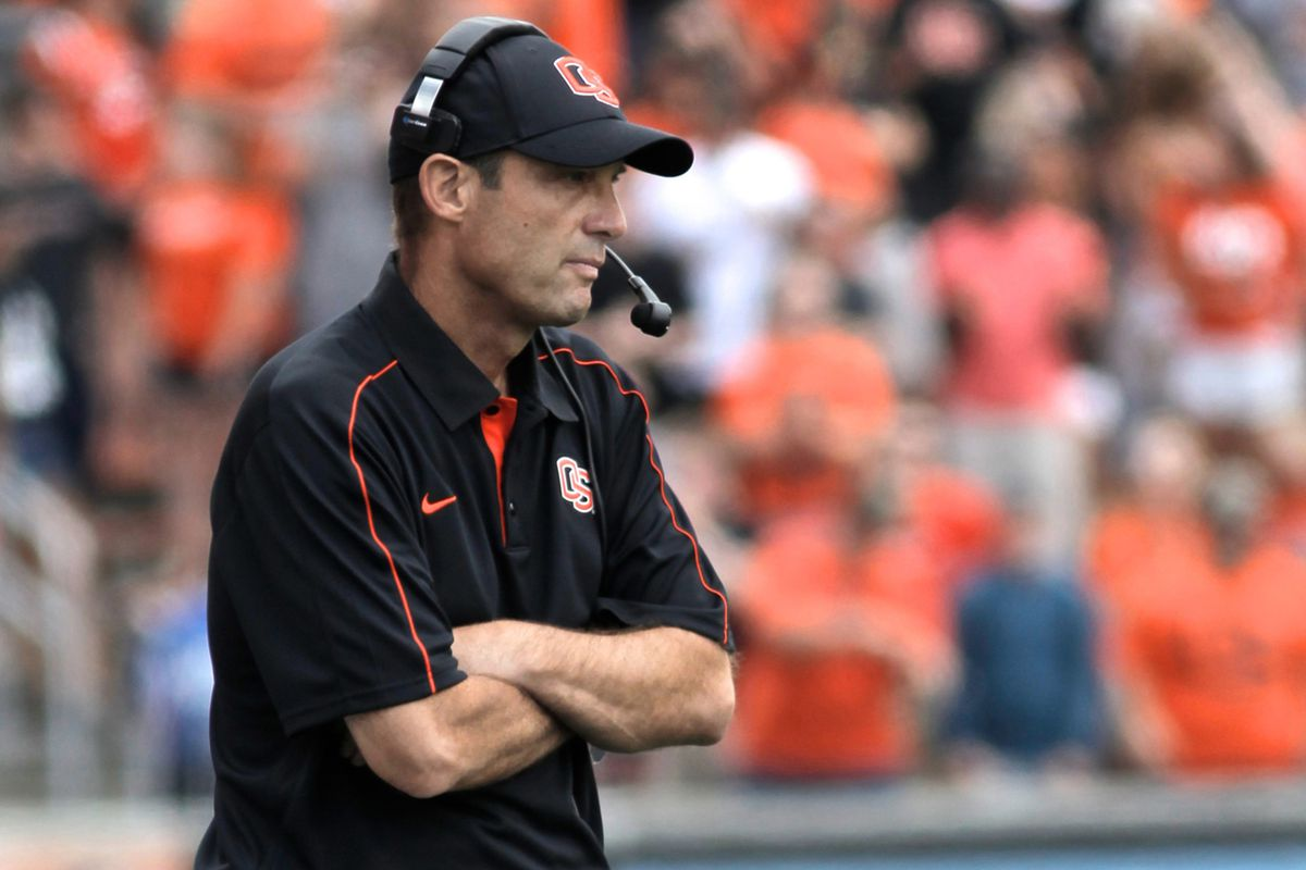 Sept. 8, 2012; Corvallis, OR, USA; Oregon State Beavers head coach Mike Riley watches his team play against the Wisconsin Badgers from the sidelines the first half at Reser Stadium.