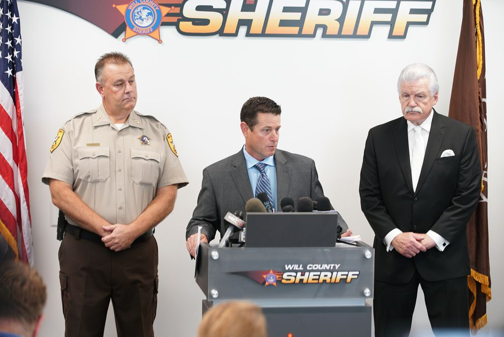 Will County Sheriff Mike Kelley (left), Will County Coroner Patrick O'Neal (middle) and Will County District Attorney James Glasgow.