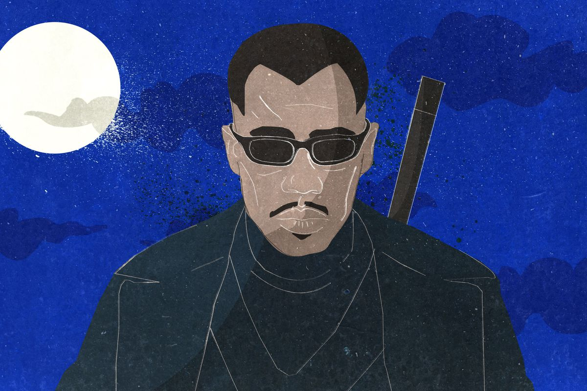 Cartoon illustration of Wesley Snipes in 'Blade'