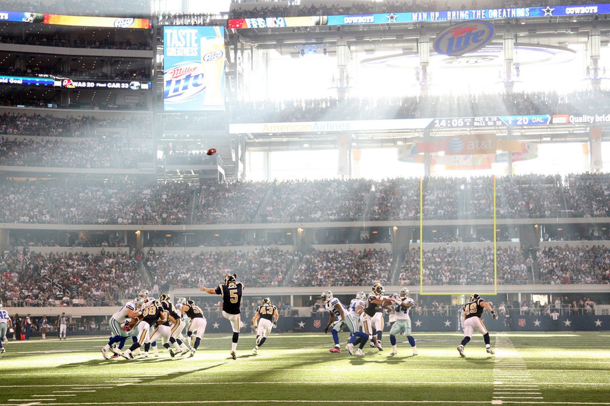 ARLINGTON, TX - OCTOBER 23: Donnie Jones #5 of the St. Louis Rams punts into the sun against the Dallas Cowboys at Cowboys Stadium on October 23, 2011 in Arlington, Texas. (Photo by Layne Murdoch/Getty Images)