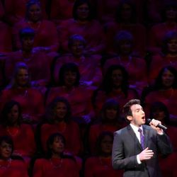 Nathan Pacheco performs with the Mormon Tabernacle Choir and Orchestra at Temple Square for a Pioneer Day concert at the LDS Conference Center in Salt Lake City on Friday, July 19, 2013.