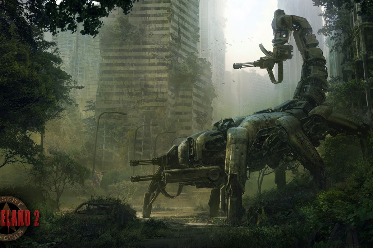silhouette of a scorpion-looking robot in a ruined cityscape in Wasteland 2