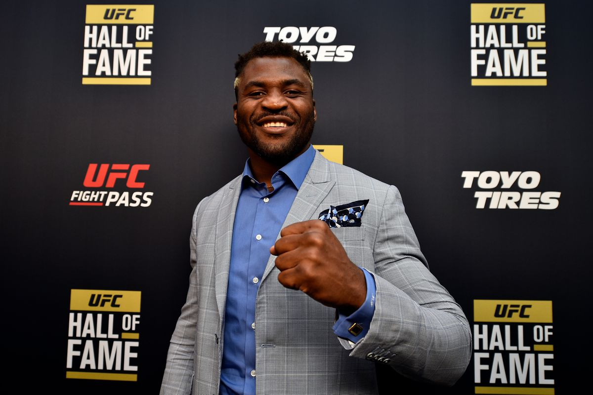Francis Ngannou poses on the red carpet prior to the UFC Hall of Fame Class of 2019 Induction Ceremony inside The Pearl at The Palms Casino Resort on July 5, 2019 in Las Vegas, Nevada.