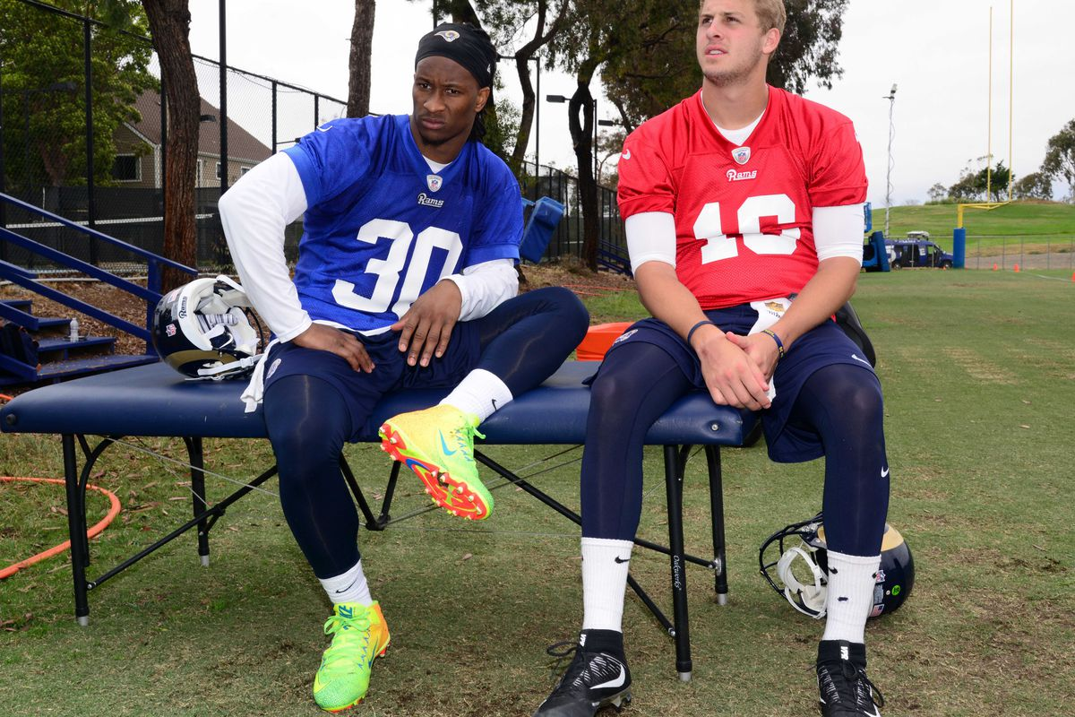 Los Angeles Rams QB Jared Goff and RB Todd Gurley
