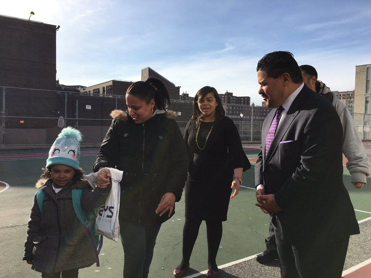 Chancellor Richard Carranza is greeting families outside Concourse Village Elementary School in the Bronx on his first official school visit.