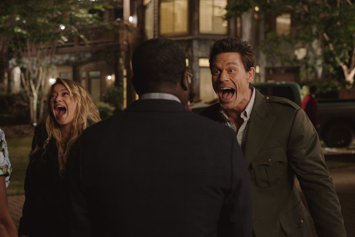 """Yvonne Orji as Emily, Meredith Hagner as Kyla, Lil Rel Howery as Marcus and John Cena as Ron in """"Vacation Friends."""""""