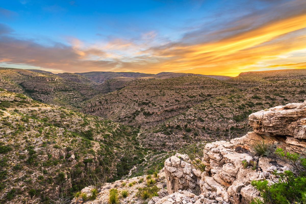 overlooking Rattlesnake Canyon just after sunset.
