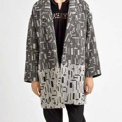 """Apiece Apart Vida oversized collar map weave coat, <a href=""""http://www.shopbird.com/product.php?productid=30171&cat=768&manufacturerid=&page=1"""">$179</a> (from $600)"""