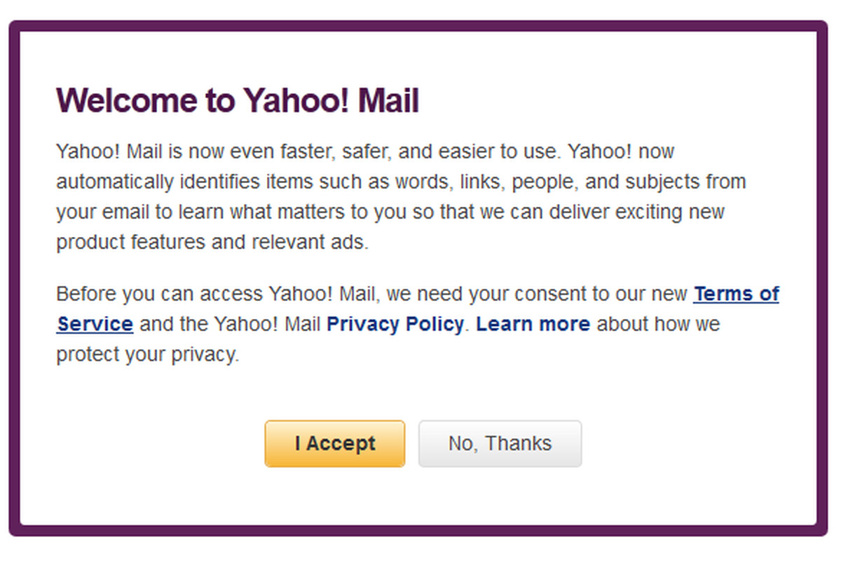 New Yahoo Mail terms of service blocking access to site for