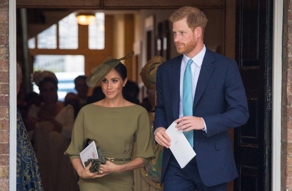 Britain's Prince Harry, Duke of Sussex and Meghan, Duchess of Sussex leave after the christening of Britain's Prince Louis of Cambridge at the Chapel Royal, St James's Palace, London on July 9, 2018.   DOMINIC LIPINSKI/AFP/Getty Images