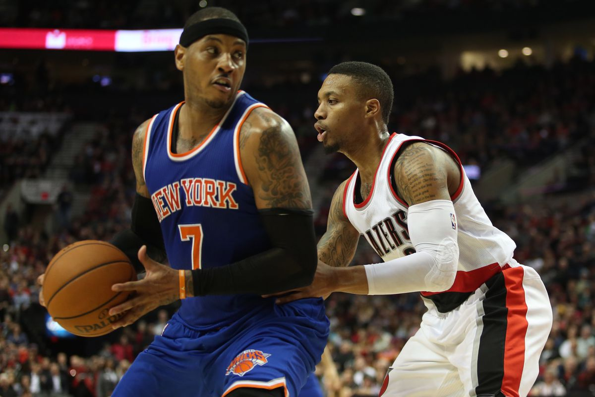 Image result for damian lillard and cj mccollum and carmelo anthony