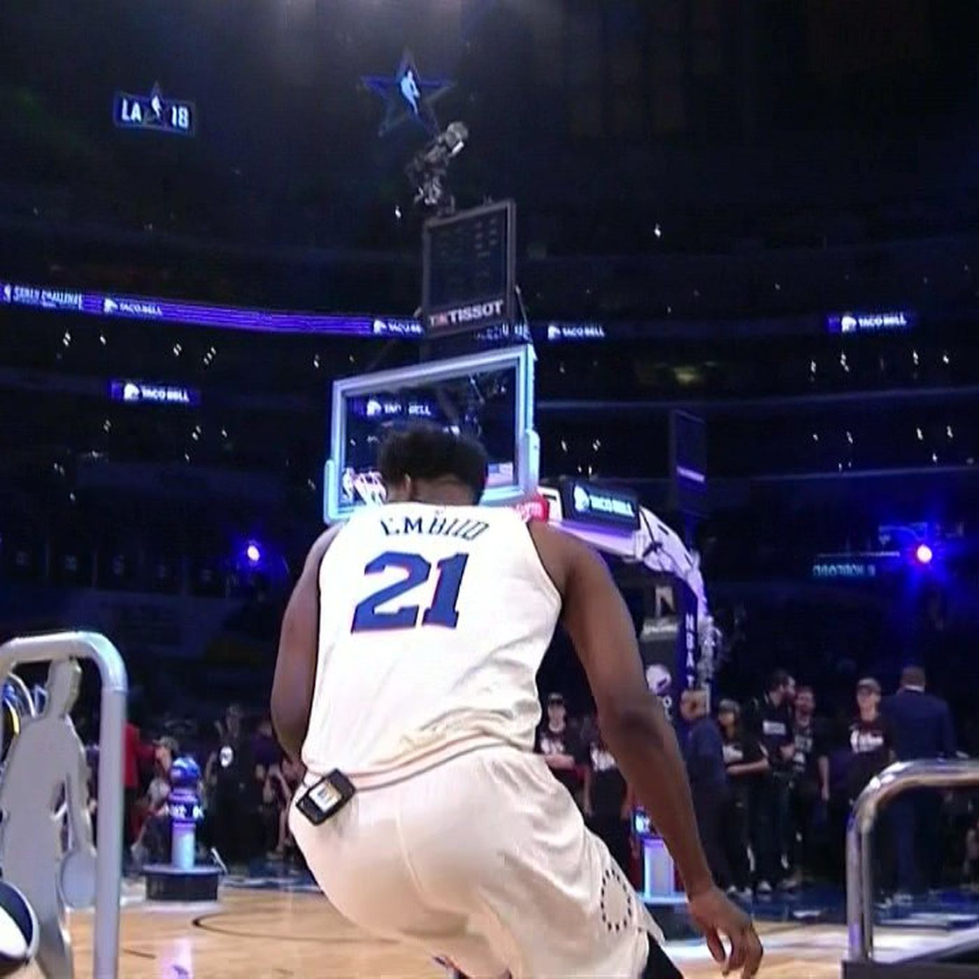 a590a0917 Joel Embiid forgot to take the tag off his shorts during NBA All-Star  Saturday - SBNation.com
