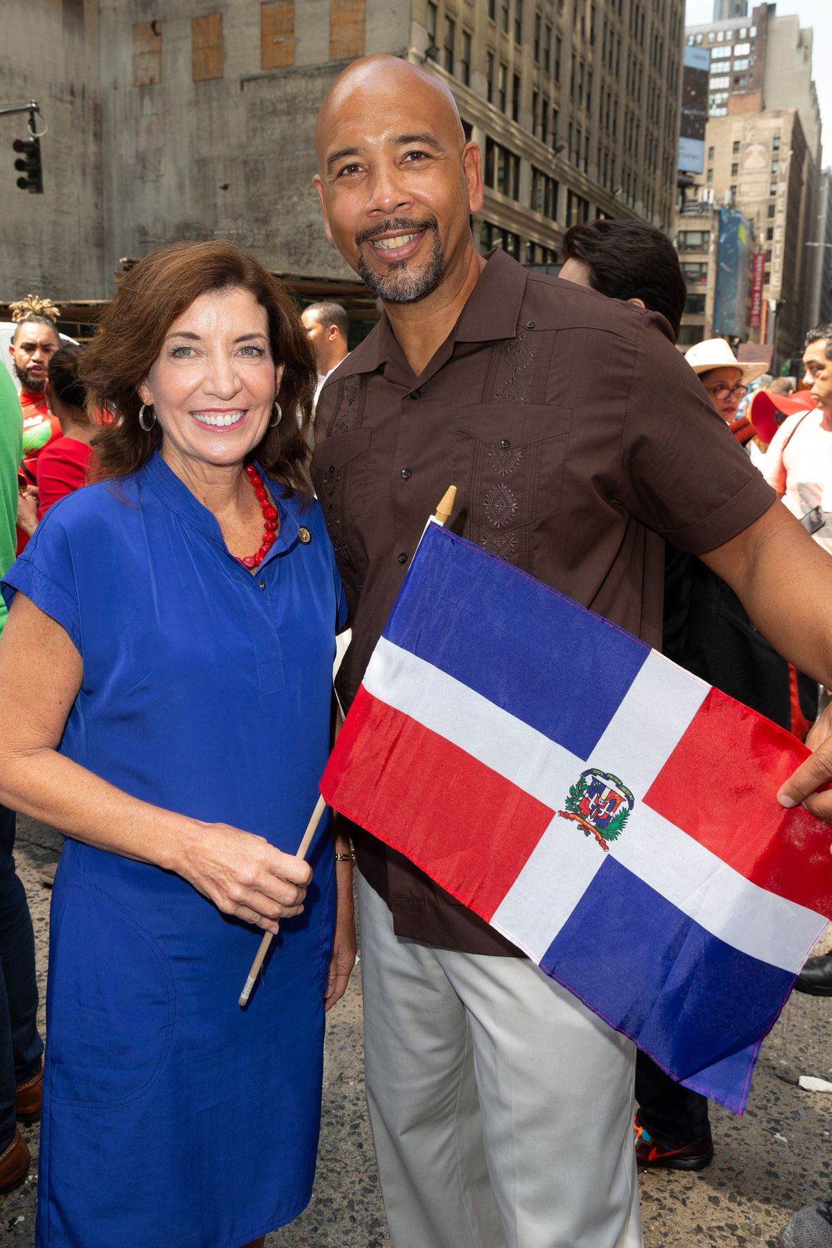 Then Lt. Gov Kathy Hochul with Bronx Borough President Rubén Díaz Jr. at the Dominican Republic parade in 2018.