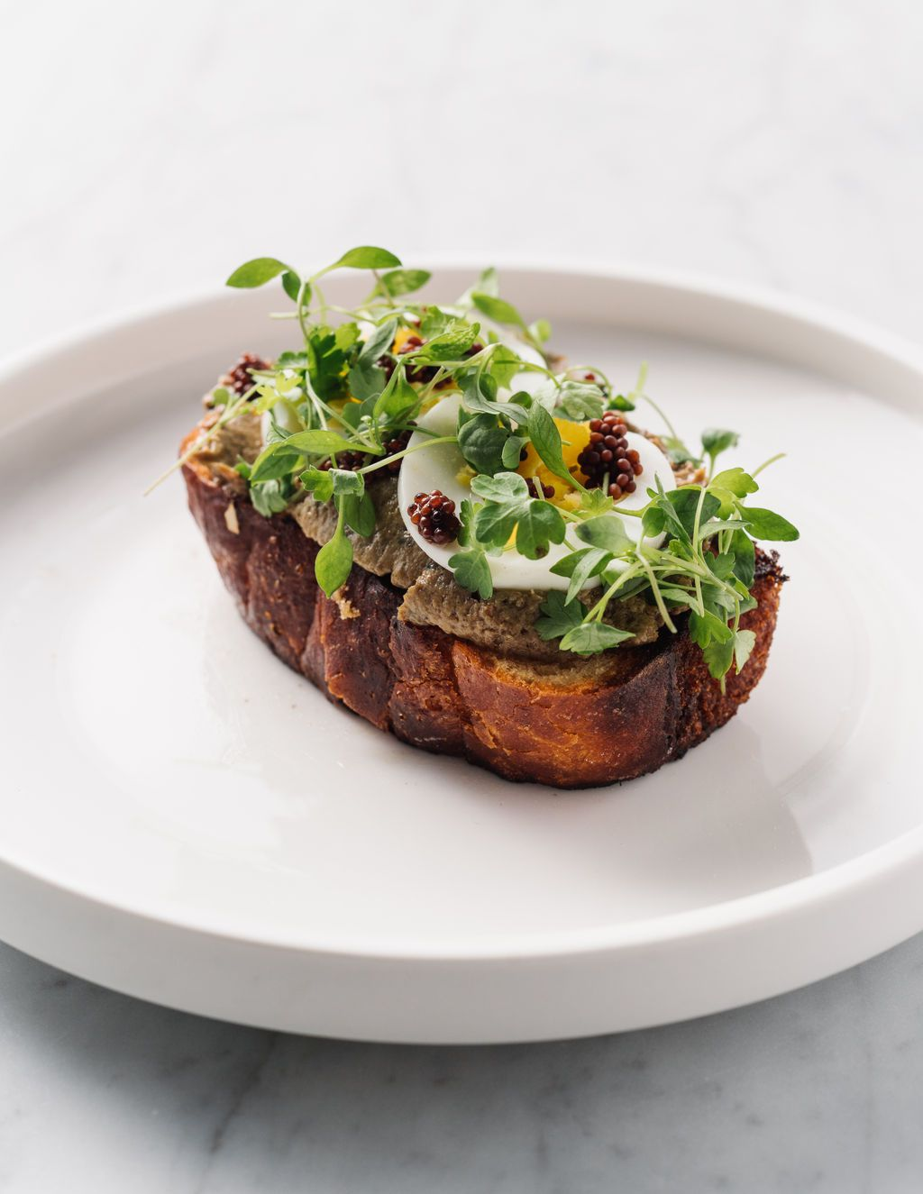 Chicken liver tartine at Tin Tin