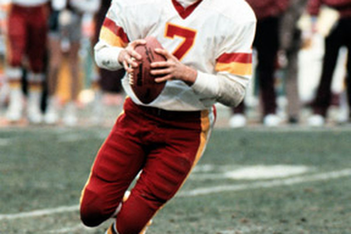 """Joe Theismann rolls to his right as well as his left in our interview at FedEx Field.  Image via <a href=""""http://www.tristarproductions.com/shows/HOU108/merch/Joe-Theismann-8x10.jpg"""">www.tristarproductions.com</a>"""