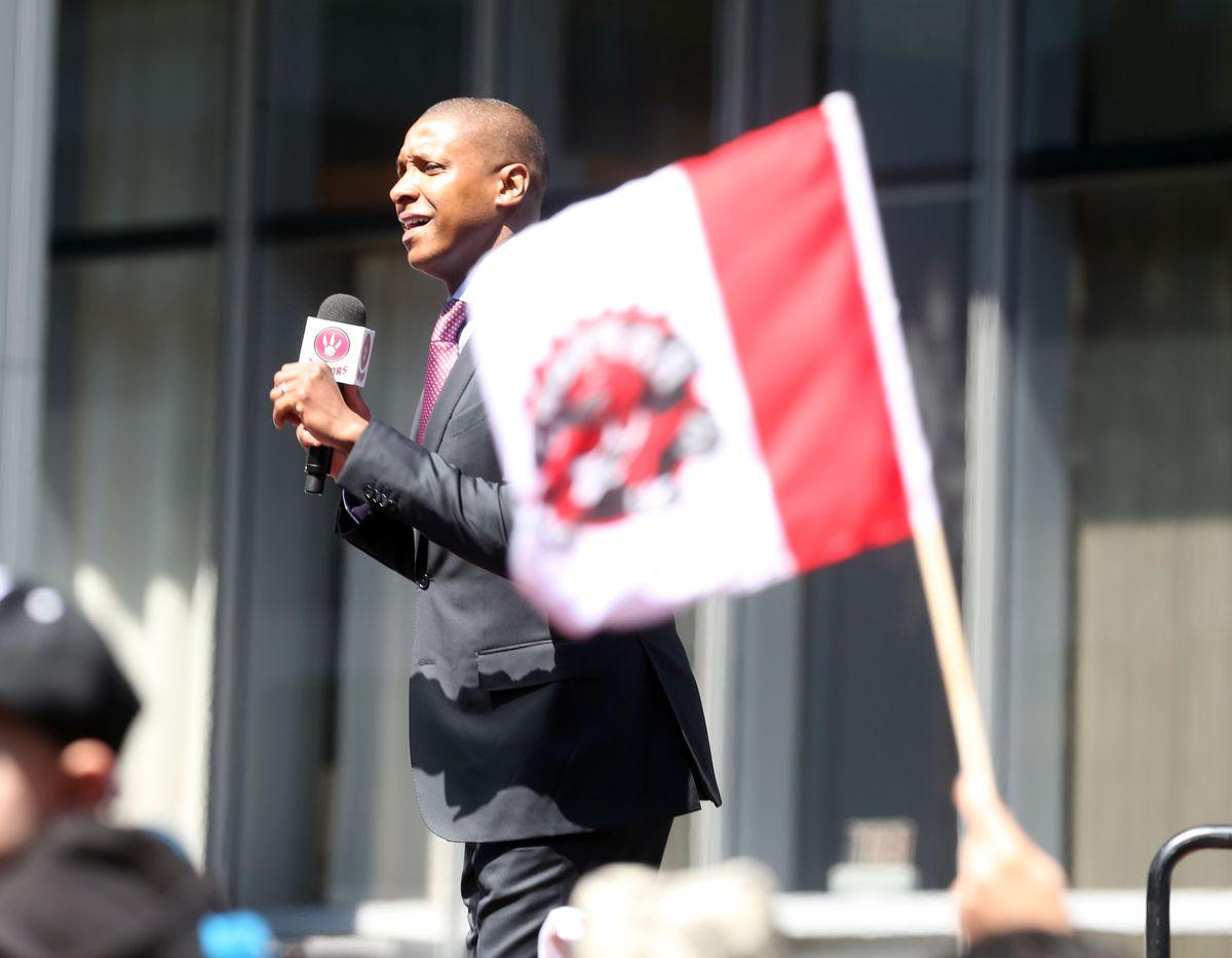 Toronto Raptor GM Masai Ujiri addresses fans