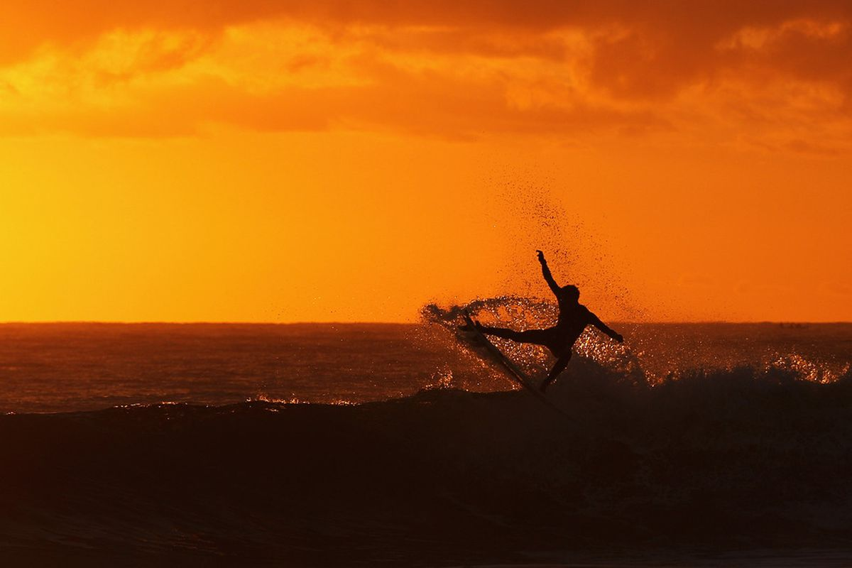 A surfer practices prior to competition during the 2012 Australian Surfing Open on February 16, 2012 in Manly, Australia.