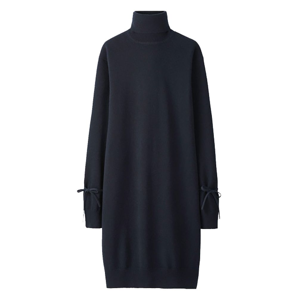 Navy knit dress with turtleneck