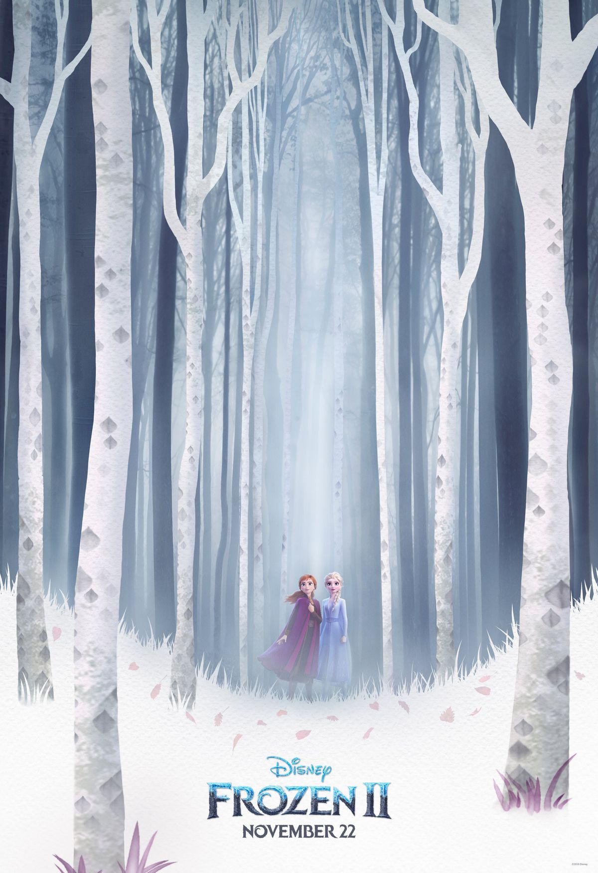 anna and elsa from frozen stand in a winter forest, there is snow around them