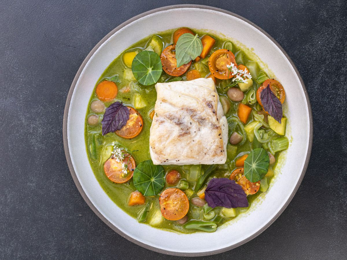 Wild striped bass with summer vegetables at Electric Lemon