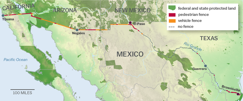 Map of the existing US Mexico border wall