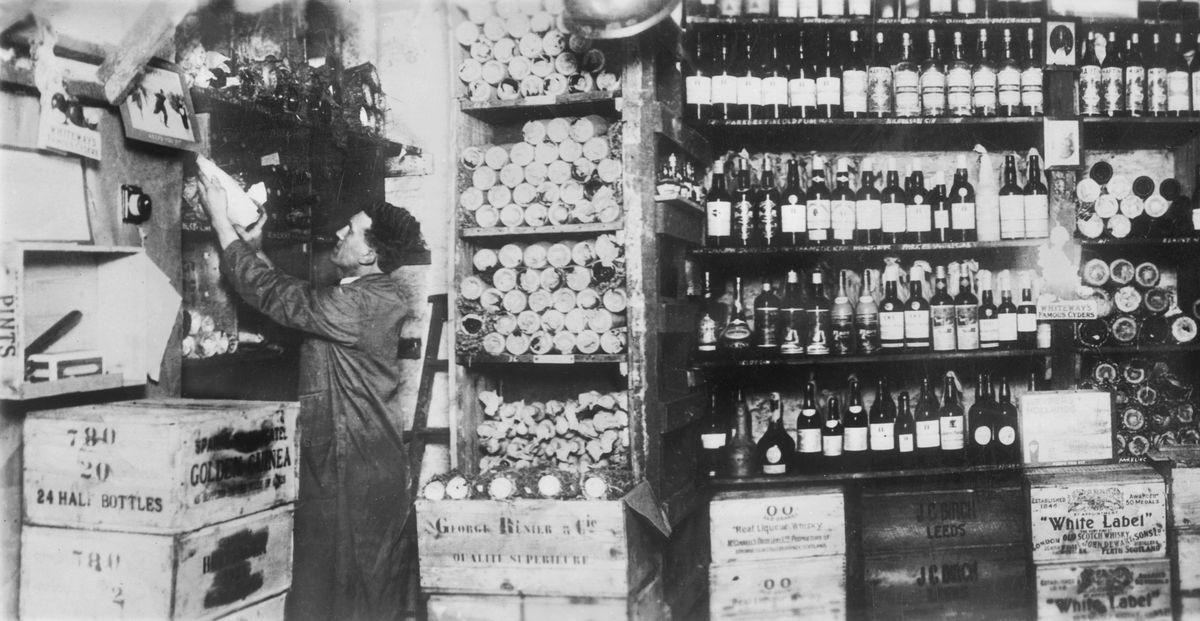 A wine shop circa the 1930s.