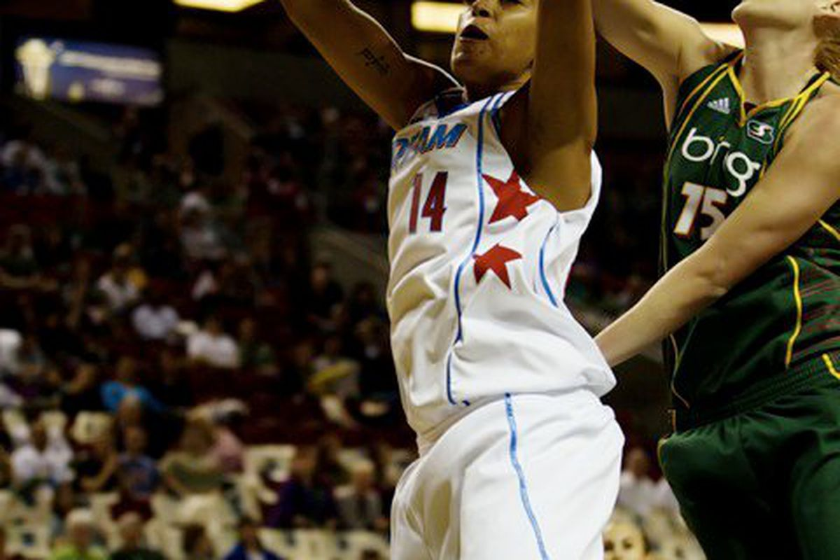 """Although both the Atlanta Dream and the Seattle Storm are interior oriented teams, the Storm might have a bit of an edge in this series. <em><a href=""""http://www.kailasimages.com"""" target=""""new"""">Photo by Kailas Images</a>.</em>"""