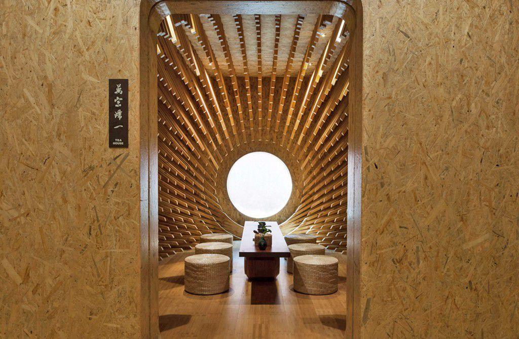 Open door looking into tea room