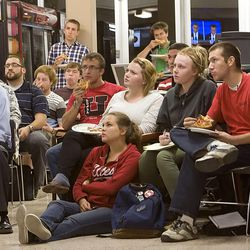 University of Utah Students turn out to watch the debate Wednesday, Oct. 3, 2012 between President Barack Obama and Republican candidate Mitt Romney.