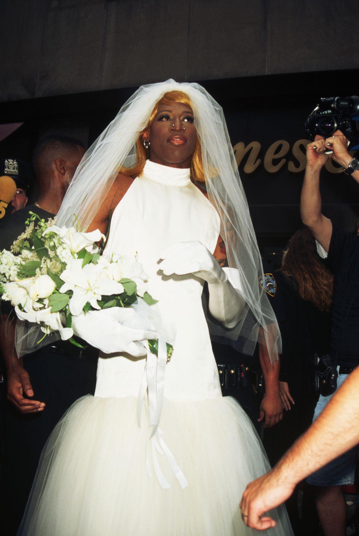 Dennis Rodman Dressed as a Bride