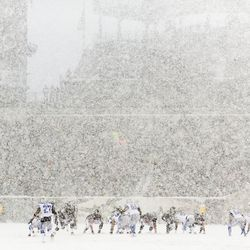 Players are barely visible from a distance Sunday in Philly