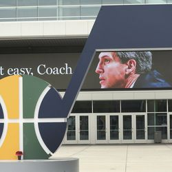 A sign honoring former Utah Jazz coach Jerry Sloan appears outside Vivint Arena in downtown Salt Lake City on Friday, May 22, 2020, after Sloan died at age 78.
