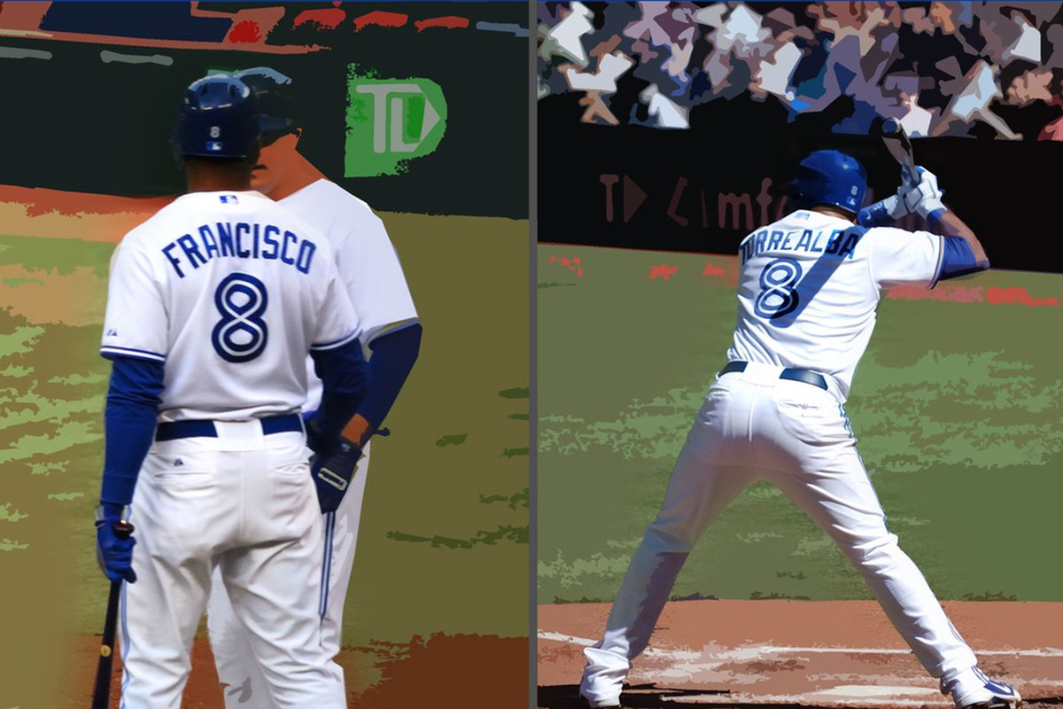 Ben Francisco and Yorvit Torrealba both wore #8 for the Toronto Blue Jays in 2012.