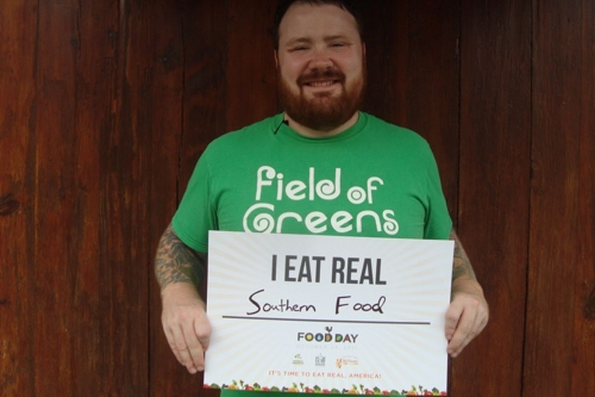 """Kevin Gillespie in last year's """"I Eat Real"""" campaign."""