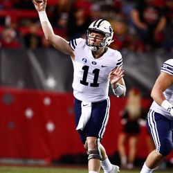 BYU quarterback Joe Critchlow throws a pass during the Cougars' 31-21 win over UNLV on Friday, Nov. 10, 2017, at Sam Boyd Stadium in Las Vegas.